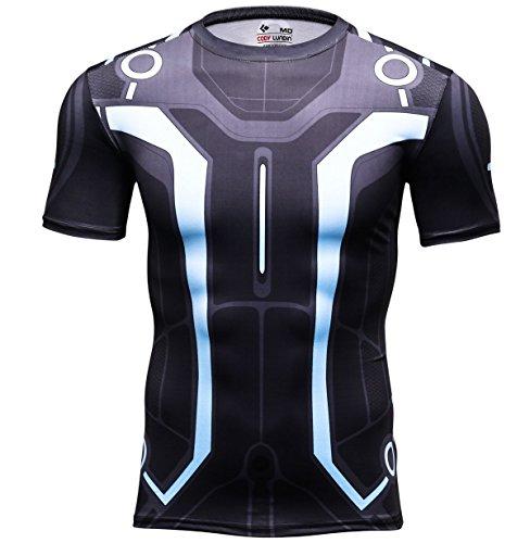 Mode Vision gedruckt schicken Kleid Party im freien Stil Laufenden Fitness Sport Kurzarm (M) (Körper Brechen Kostüm)