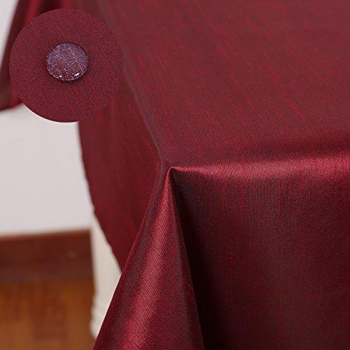 Deconovo Mantel Mesa Rectangular para Comedor Tela Poliéster 140 x 240 cm Vino Rojo