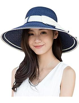 TININNA Elegante Pieghevole all'aperto Cappello di paglia estate Protezione del sole Cappello della spiaggia di...