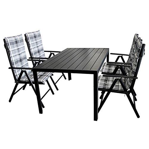 9tlg. Gartengarnitur Gartentisch, Aluminium, Polywood Tischplatte schwarz, 150x90cm + 4x Hochlehner, 2x2 Textilenbespannung, Lehne 7-fach verstellbar + 4x Stuhlauflage / Terrassenmöbel Gartenmöbel Set Sitzgarnitur