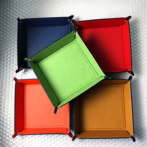 SimpleM PU Leder nachtablage Fach klapp Desktop Organizer für schmuck schlüssel Handy Uhren süßigkeiten kleinigkeiten Halter (Desktop-schmuck-organizer)