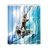Etopfashion 180 x 180 cm Poliester Textil Con 12 Anillos Lucha Por La Libertad De Los Tiburones Y Los Osos Rugen Bajo Las Olas
