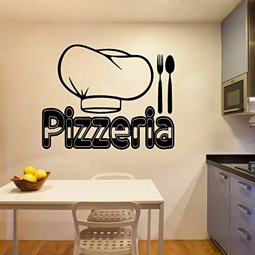 HNXDP Exquisite Pizzeria Wandaufkleber Home Decoration Zubehör Abnehmbare Wandaufkleber Wanddekoration Wandbilder Blau M 30 cm X 37 cm -
