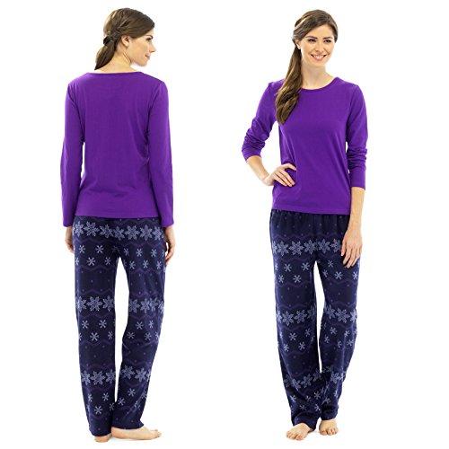 Mesdames Ensemble pyjama polaire uni de flocon de neige pour femme Violet/bleu marine ou lilas/Bleu Purple and Navy