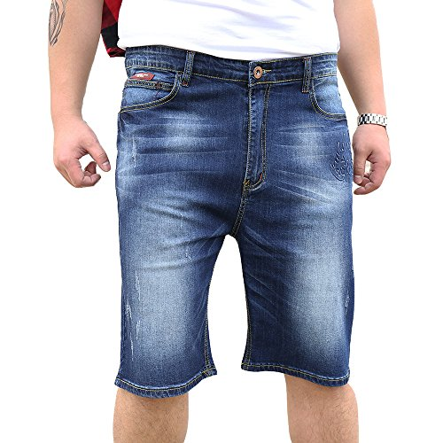 OCHENTA Men's Summer Wear Thin Denim Shorts with Multi Pockets Plus Size