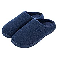 DL Womens-Memory-Foam-Slippers, Slip on House Slippers for Women Indoor Outdoor, Women's Bedroom Slippers Non-Slip Hard Sole, Warm Soft Flannel Lining Woman Slippers Purple Blue Pink Gray Navy
