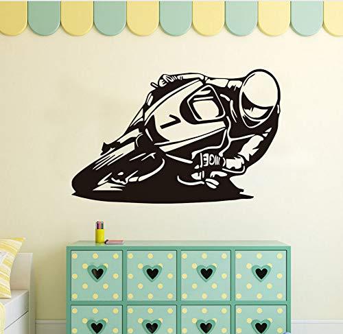 Mrlwy Motocicleta Recing Rider Decoración Motocicleta Pegatinas De Pared Murales De Arte De Vinilo Diy Extraíble Tatuajes De Pared Habitación De Los Niños 59X37 Cm