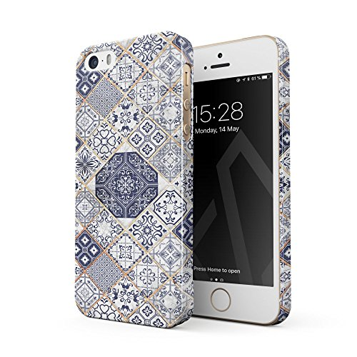 BURGA Phone Case Compatible With iPhone 5 / 5s / SE, Tranquil Waters White Gold Marble Blue Moroccan Tiles Pattern Mosaic Thin Design Durable Hard Plastic Protective Case