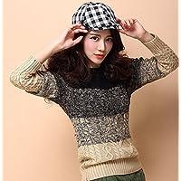 HDYS Señoras tejer y la camisa retro grueso suéter con cuello redondo manga larga