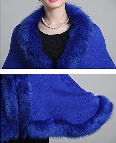 Style Vintage Tonwhar Cape Cloak écharpe étole avec bordure imitation fourrure Multicolore - Saphire