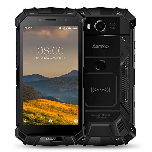 "Outdoor Handy, Aermoo M1 Dual SIM 4G Android 7.0 Smartphone ohne Vertrag, IP68 Wasserdicht 5.2"" FHD Helio P25 Octa-core, 6G RAM+64G ROM 8.0MP+21.0MP, 5580mAh Schnellladung Robustes Smartphones-Schwarz"