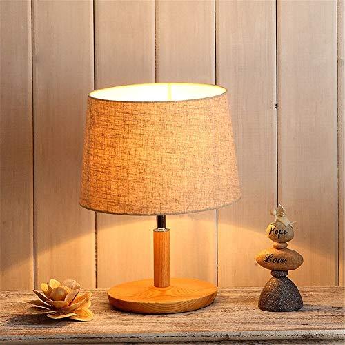 Lampada da tavolo e27 studio luminoso ufficio creativo pastorale lino ombra in legno massello piccola lampada da scrivania con interruttore a pulsante per soggiorno camera da letto comodino