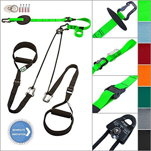 eaglefit® Sling Trainer exclusive; Umlenkrolle, Deckenbefestigung, Türanker; TESTSIEGER, grün