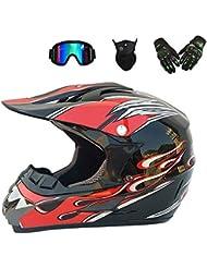 YYCC-helmet Casco Adulto Motocross Casco Moto MX ATV Casco Scooter ATV D.O.T Certificato Rockstar Multicolore con Maschera Guanti Maschera,L