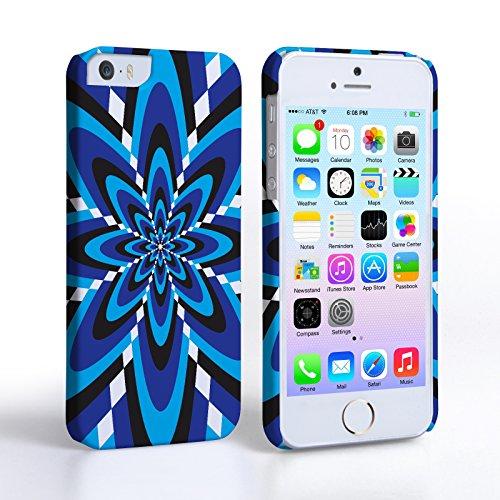 Caseflex Coque iPhone 5 / 5S Etui Bleu Rétro Fleur Motif Dur Housse