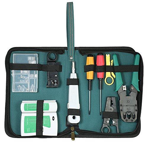 KKmoon 9-in-1 Professionelles Netzwerk Computer Wartung Reparatur Tools Kit Kabel Tester + Crimper + Abisolierzange + 10pcs 8P8C / RJ45 Crystal Kabel Anschlüsse Netzwerk-Tool