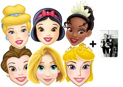 Disney Princess card Karte Partei Gesichtsmasken (Maske) Packung von 6 (Aurora, Tiana, Belle, Snow White, Ranpunzel und Cinderella)
