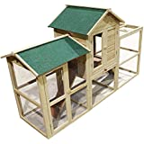 XXL Kleintierkäfig Hasenkäfig Nagerkäfig aus Holz mit Freilauf
