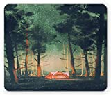 Fantasy Mouse Pad, Camping in Forest at Night with Stars Fireflies Magical Environment Nature Scene Art,