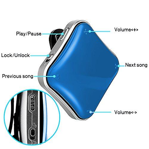 """COOSA 8GB reproductor de MP3 0.96 """"reproductor de MP3 portátil de pantalla OLED 360 ° clip de deporte libremente giratorio / música + radio FM + grabación + libro electrónico 360 ° clip de deporte libremente giratorio [todas las instrucciones de mp3 en español] Incluye auriculares (Azul) (Azul)"""
