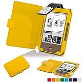 Forefront Cases® Tolino Page Shell Hülle Schutzhülle Tasche Bumper Folio Smart Case Cover Stand mit LED Licht - Leicht mit Rundum-Geräteschutz (GELB)