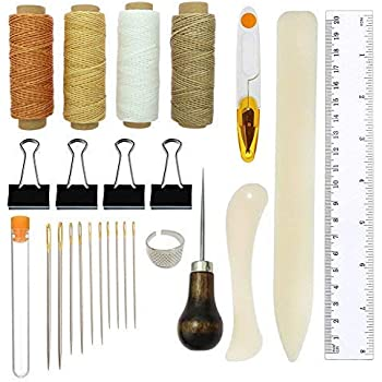 CHIFOOM 22pcs Leather Sewing Waxed Thread Cord Craft Hand Stitching Tools Kit with Hand Sewing Needles and Drilling Awl Thimble for Leather Carving Supplies Accessories DIY Crafts