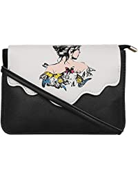 Bagsvilla Stylish Trendy Black Sling Bag For Women & Girls With Women Print