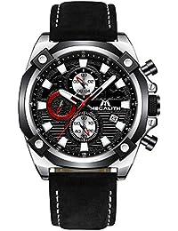 Relojes Hombre Relojes Grandes de Pulsera Militar Cronógrafo Impermeable Deportivo Diseñador Reloj de Cuero Marrón Analógico