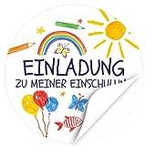 24 x Aufkleber zur Einschulung, rund 4cm - Motiv Bunte Symbole Einladung Einschulung - Schule/Schulkind/Eingeschult/Junge/Mädchen