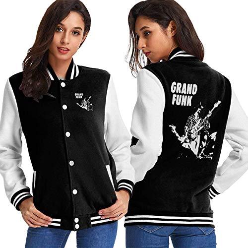 BAQQC Damen Jacken, Mäntel, Sportbekleidung, Grand Funk Railroad Retro Music Women's Varsity Baseball Hoodie Jacket Outerwear Coat (70's Funk Kostüm)