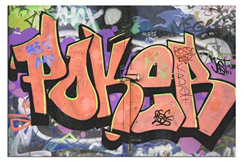 BILD AUF LEINWAND POKER STREETART ORANGE living A04349 DEKOR Größe wählbar, gerahmt auf echtem Keilrahmen. Günstiger als Ölbild Gemälde Poster Plakat mit Bilder 120 x 80 cm