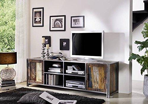 Meuble TV - Métal et bois massif recyclé laqué (Multicolore) - Style Urbain - NEW YORK #04