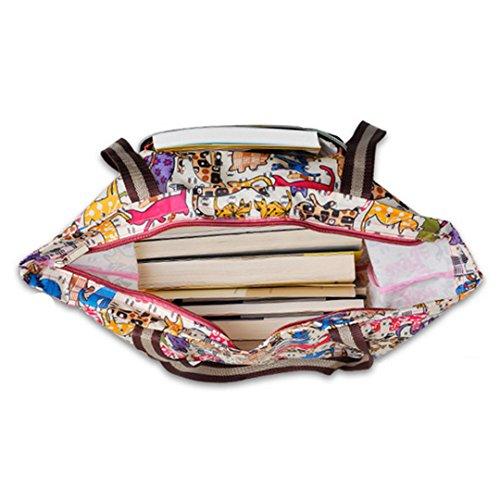 Millya creativo impermeabile pieghevole grande shopping bag riciclare borsa da viaggio con tasca laterale Purple Cartoon