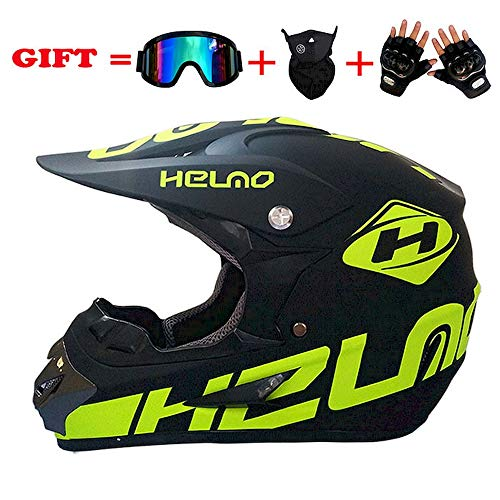 LEWWB Motocross Helm Adult Off Road Helm Unisex Motorradhelm Cross Helme Schutzhelm ATV Helm für Männer Damen Sicherheit Schutz, mit Handschuhe Maske Brille,S, M, L, XL,S