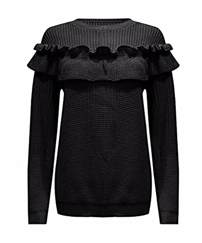Janisramone Womens Ladies New Ruffle Frill Patch Detail Chunky Cable Knitted Long Sleeve Jumper Sweater