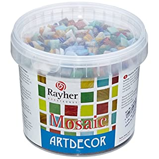 RAYHER Mosaic Tiles Bucket for Arts and Crafts, Glass, Multi-Colour, 1x1 cm, 1 kg, 1300-Piece