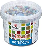 RAYHER Mosaic Stones Bucket Glass, Multi-Colour, 1 cm, 1 kg, 1300-Piece