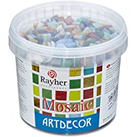 Rayher hobby 1453008 - Teselas (1 cm, cubo con 1300 piezas, 1 kg), multicolor, pack de 1 unidad , Modelos/colores Surtidos, 1 Unidad