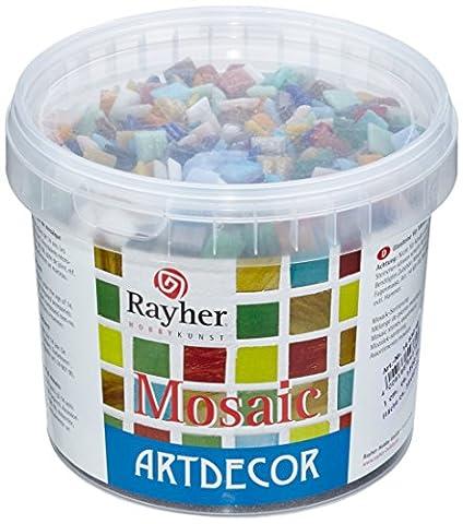 Rayher Hobby Verres mosaïque 1 cm couleurs assorties Seau environ 1300 pces/1 kg
