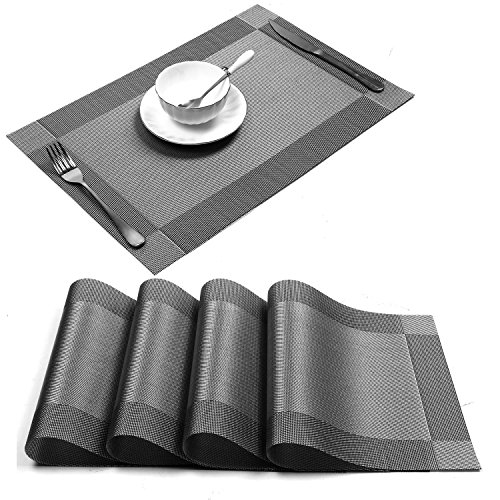 Place Mats Dining Table Placemats Sets of 4 Heat Resistant Washable Table Mats Gray