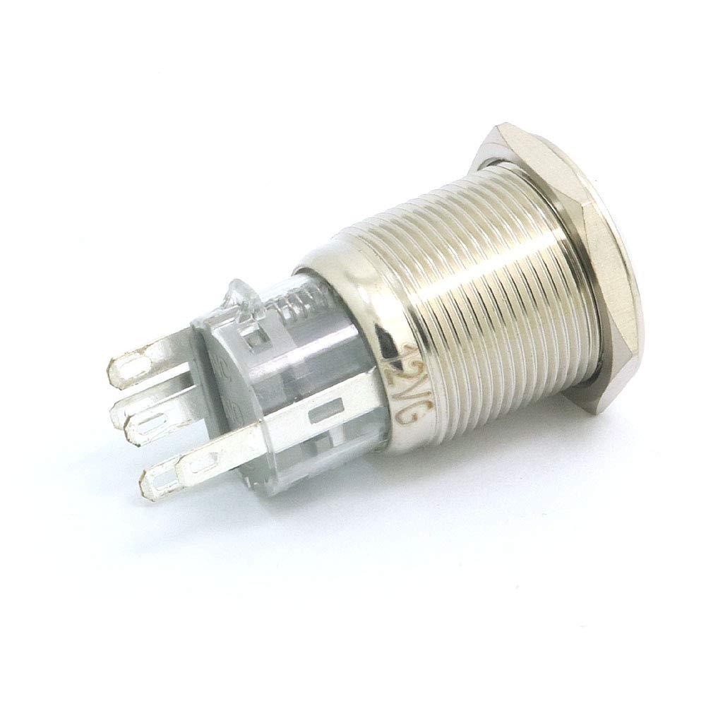 Twshiny PBS-33B 12mm Push Button Waterproof Lockless Momentary ON//OFF Switch 12pcs