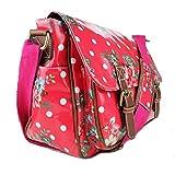 Miss Lulu Floral Dot Oilcloth Satchel Bag Plum
