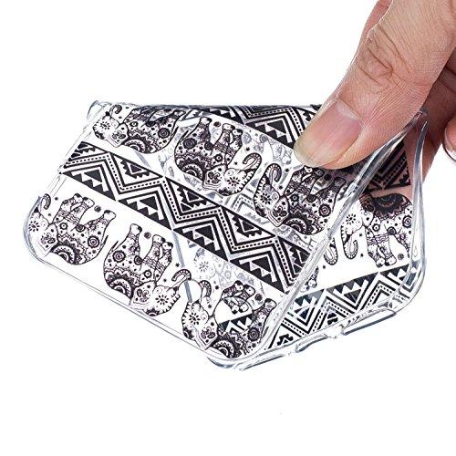 CaseHome iPhone 5C Durchsichtig Silikon TPU Hülle Elegantes Stilvoll Hübsches Muster Druckte Entwurf (Mit freiem HD Schirm-Schutz) Gummi Silikongel Retro Klassiker Stoßstange Weicher Stoßdämpfer-ultra Gestreifte Elefant