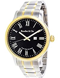 Boudier & Cie BSSM212 - Reloj de Cuarzo Analogico con movimiento Suizo para hombre, Esfera negra, Carcasa dorada, Correa plateada