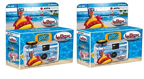 einwegunterwasserkamera AgfaPhoto LeBox Ocean Einwegkamera wasserdicht (2-er Set bis zu 54 Aufnahmen)