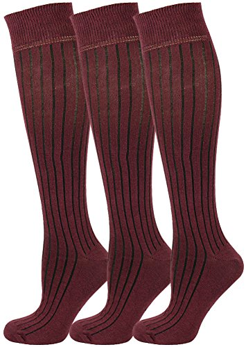 Mysocks® 3 Pairs Unisex Knee High Long Socks Plain Ribbed with Extra Fine Combed Cotton