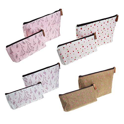 8 Stück Stifthalter pastoralen floralen Design multifunktionale Schreibwaren Bleistift Tasche Reisen Kosmetiktaschen, verschiedene Größen