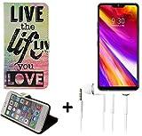K-S-Trade TOP Set für LG Electronics G7 ThinQ 360° Wallet Case Schutz Hülle ''live The Life You Love'' Schutzhülle Handy Hülle Handyhülle Handy Tasche Etui inkl. ohrstöpsel Smartphone Flip Cover FLI
