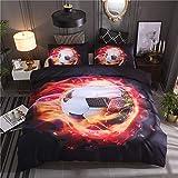 Wzz Bettwäsche 3 Teilig 3D Microfaser Calcio, Bettbezug, 2 Kissenbezug, für Kinder, Jungen, Mädchen Bettwäsche-Set,Firefootball,135 * 210cm