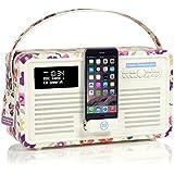 VQ Retro Mk II DAB/DAB+ Digital- und FM-Radio mit Bluetooth, Apple Lightning Dock und 'Retro Mini Hepburn Mk - Emma Bridgewater Mauerblümchen